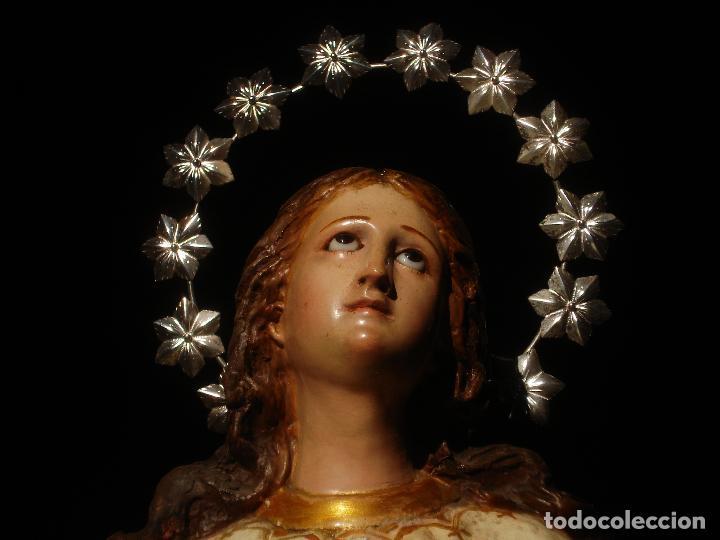 Arte: VIRGEN INMACULADA CENTENARIA PURÍSIMA CON ANGELES SXIX PASTA DE MADERA - Foto 6 - 83700188