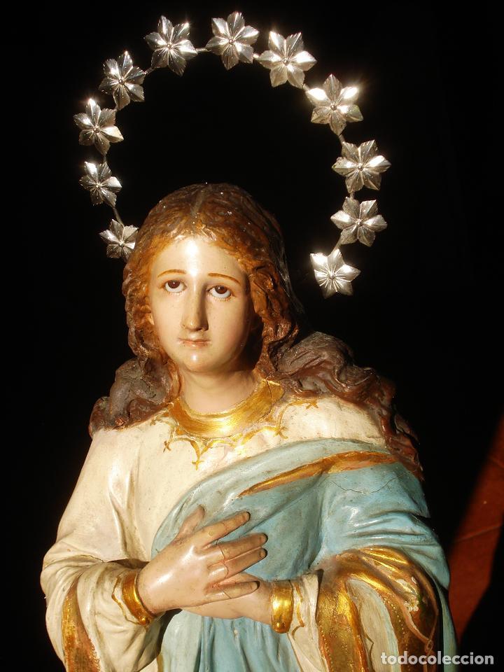 Arte: VIRGEN INMACULADA CENTENARIA PURÍSIMA CON ANGELES SXIX PASTA DE MADERA - Foto 11 - 83700188