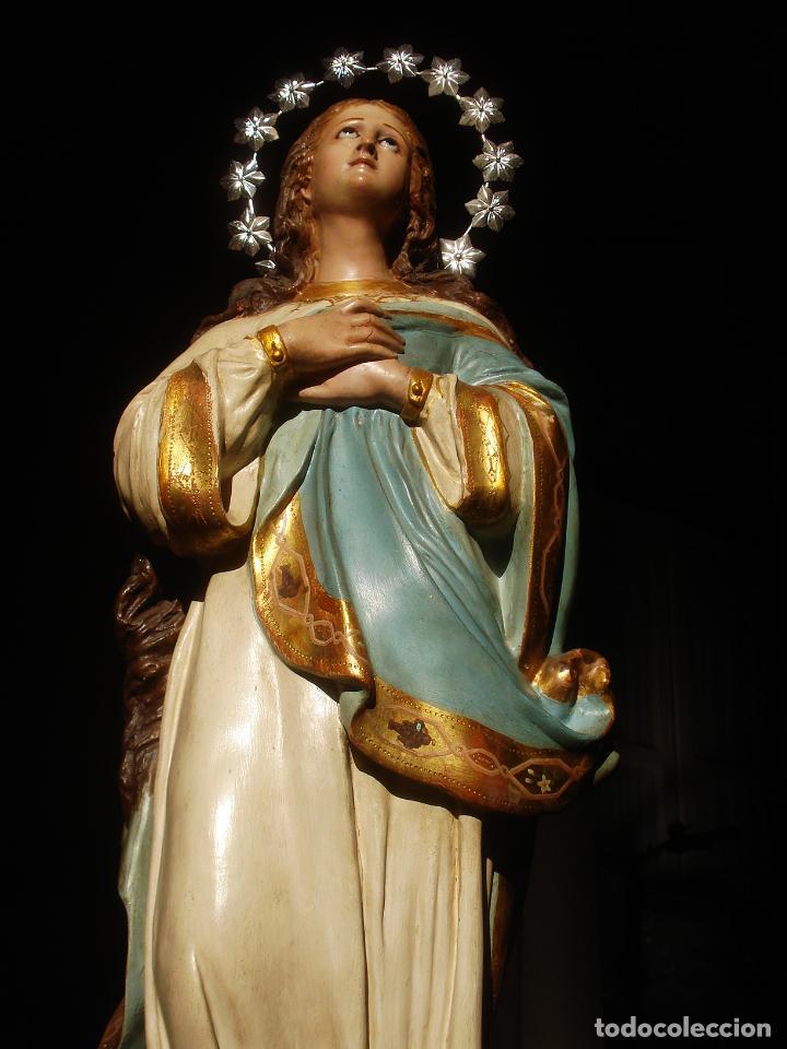 Arte: VIRGEN INMACULADA CENTENARIA PURÍSIMA CON ANGELES SXIX PASTA DE MADERA - Foto 12 - 83700188