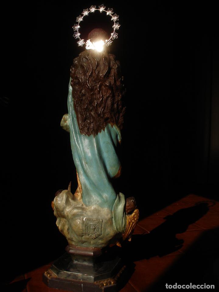 Arte: VIRGEN INMACULADA CENTENARIA PURÍSIMA CON ANGELES SXIX PASTA DE MADERA - Foto 15 - 83700188