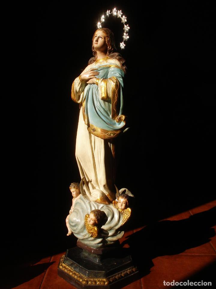 Arte: VIRGEN INMACULADA CENTENARIA PURÍSIMA CON ANGELES SXIX PASTA DE MADERA - Foto 19 - 83700188