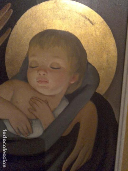 Arte: Antigua pintura sobre tabla de la Virgen con el niño - Foto 3 - 83806388