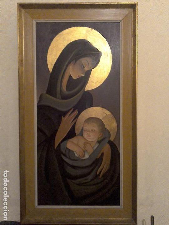 ANTIGUA PINTURA SOBRE TABLA DE LA VIRGEN CON EL NIÑO (Arte - Arte Religioso - Retablos)