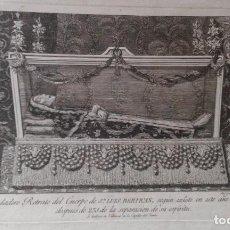 Arte: GRABADO GAMBORINO 1811 - VERDADERO RETRATO DEL CUERPO DE SAN LUIS BERTRAN - 30X22 CM EN TOTAL. Lote 83849372