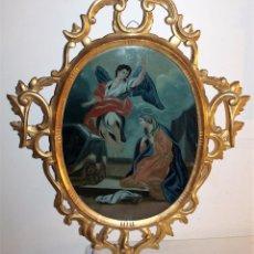 Arte: ÓLEO SOBRE CRISTAL CON CORNUCOPIA DORADA - LA ANUNCIACIÓN - SIGLO XVIII. Lote 83909688