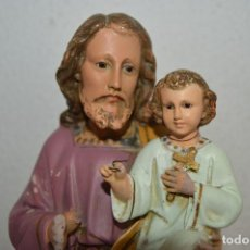 Arte: PRECIOSA FIGURA DE SAN JOSE CON EL NIÑO JESUS OJOS DE CRISTAL CON SELLO VER FOTOS PFSS. Lote 84030208