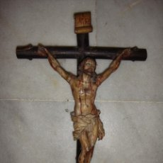 Arte: ANTIGUO CRISTO CRUCIFICADO. S.XVIII. TALLA DE MADERA. POLICROMÍA DE ÉPOCA.. Lote 84110788