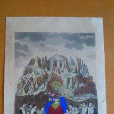 Arte: NUESTRA SEÑORA DE MONTSERRATE, GRABADO ILUMINADO. EDITOR M. BORDAS 1859. Lote 84202764