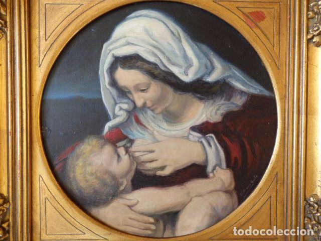 Arte: Virgen de la Leche. Obra original y firmada por M. Mora Yuste (Chiva 1932). Óleo sobre táblex. - Foto 2 - 84381596