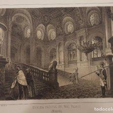 Arte: LITOGRAFÍA DE LA ESCALERA DEL PALACIO REAL (MADRID) F. JAVIER PARCERISA (BARCELONA 1803 - 1875).. Lote 84402932