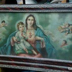 Arte: ANTIGUA LAMINA EN MARCO Y CRISTAL, VIRGEN NIÑO Y ANGELES, AÑOS 30 40. Lote 84618848