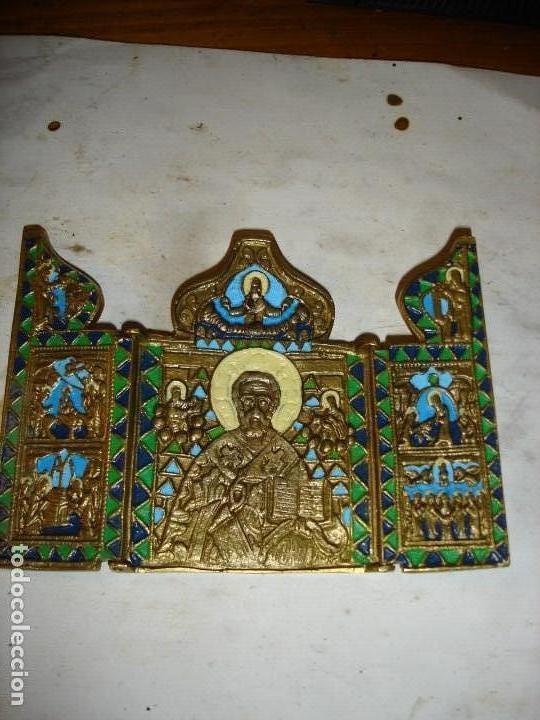 ICONO DE VIAJE SIGLO XIX EN FORMA DE TRIPTICO ES MUY MUY BONITO (Arte - Arte Religioso - Iconos)