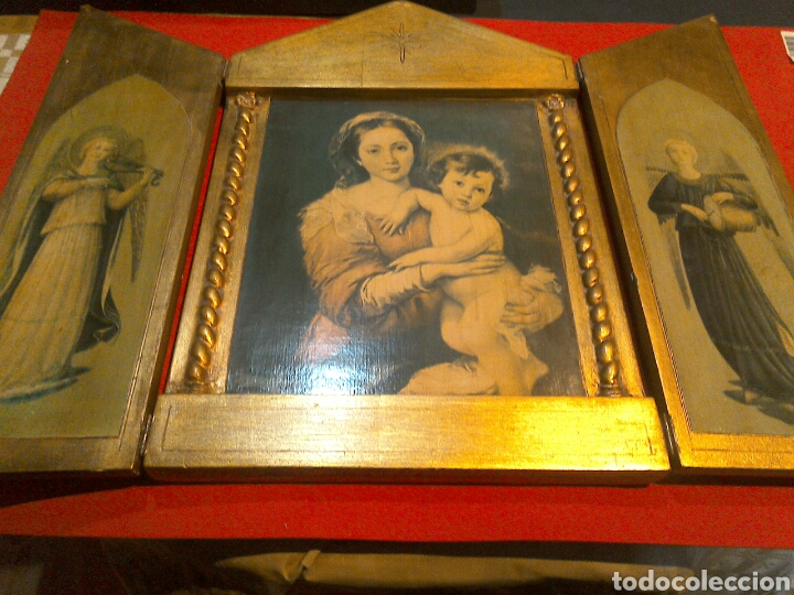 GRAN TRÍPTICO RELIGIOSO FINALES S.XIX (Arte - Arte Religioso - Trípticos)