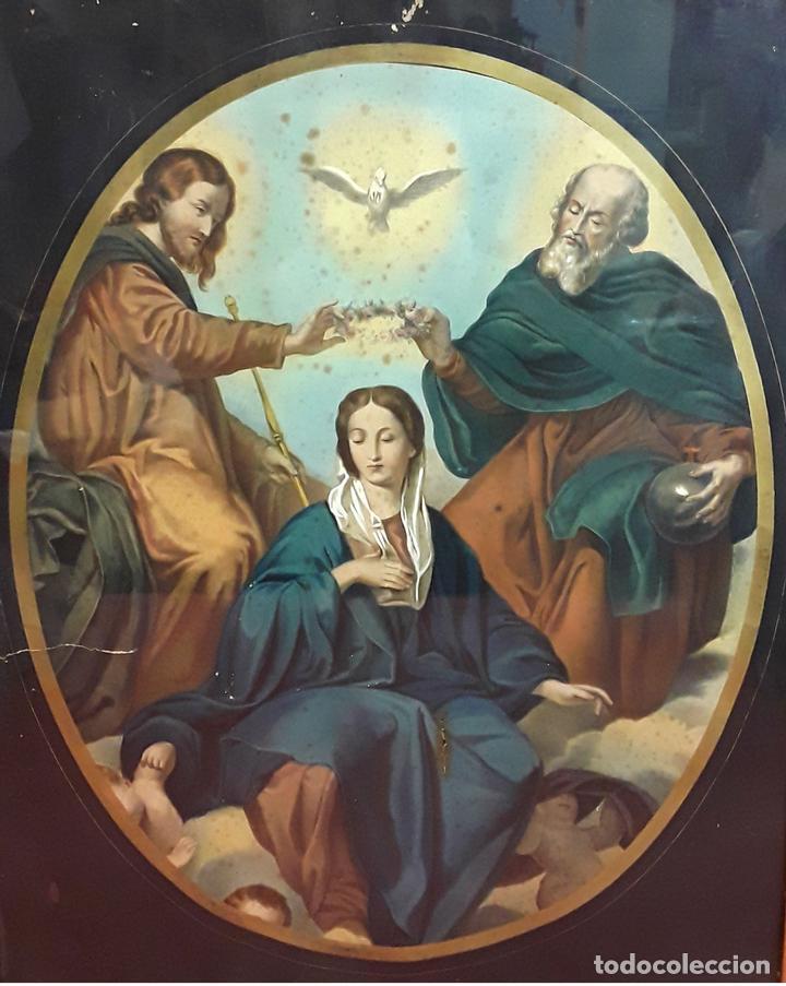 CORONACIÓN DE LA VIRGEN. GRABADO INSPIRADO EN UN VELÁZQUEZ. ESPAÑA. S. XIX. (Arte - Arte Religioso - Grabados)