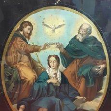 Arte: CORONACIÓN DE LA VIRGEN. GRABADO INSPIRADO EN UN VELÁZQUEZ. ESPAÑA. S. XIX. . Lote 84716720