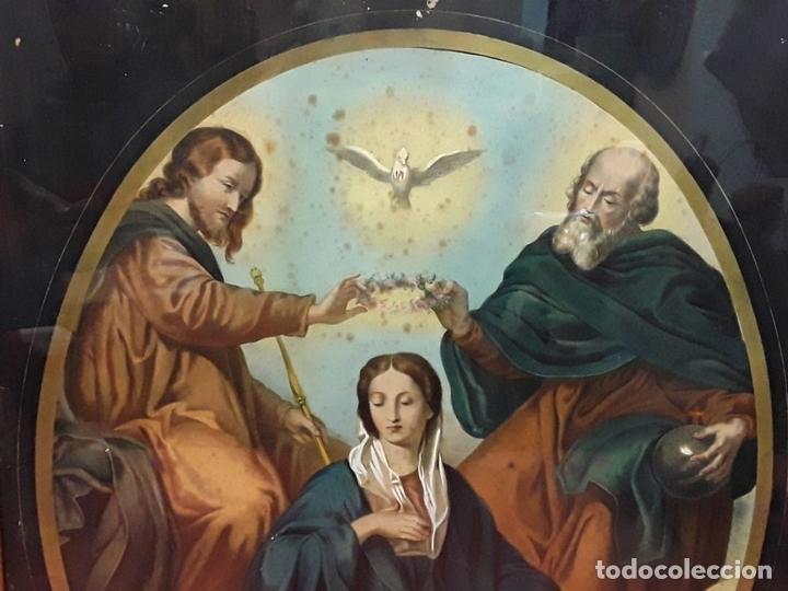 Arte: CORONACIÓN DE LA VIRGEN. GRABADO INSPIRADO EN UN VELÁZQUEZ. ESPAÑA. S. XIX. - Foto 2 - 171953162