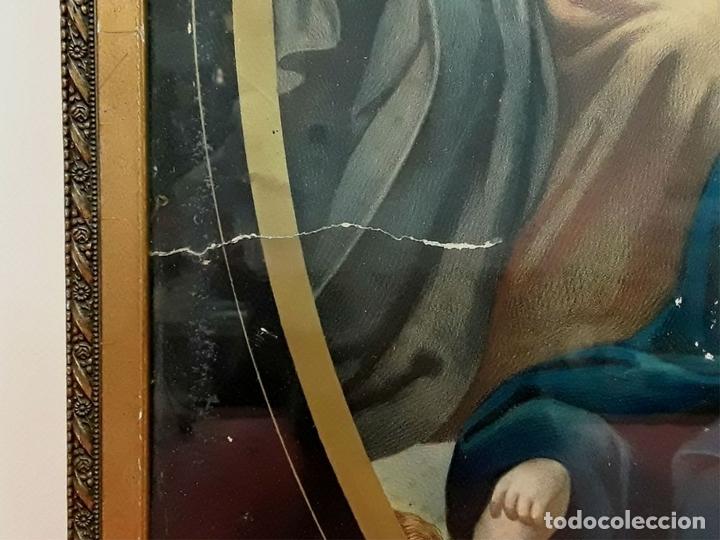 Arte: CORONACIÓN DE LA VIRGEN. GRABADO INSPIRADO EN UN VELÁZQUEZ. ESPAÑA. S. XIX. - Foto 5 - 171953162