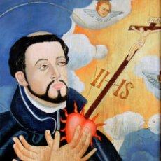 Arte: ANTIGUA PINTURA RELIGIOSA SOBRE MADERA - ENMARCADA - FRANCISCO JAVIER - MISIONERO RELIGIOSO - ARTE. Lote 84754416