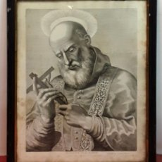 Arte: RETRATO DE SAN ANICETO, PAPA Y MÁRTIR. GRABADO. ESPAÑA. SIGLO XVIII. . Lote 84804796