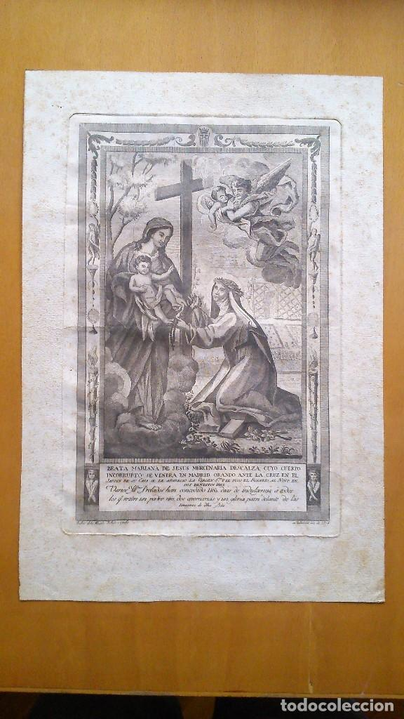 estampa de la beata mariana de jess cuyo cuerpo se venera en madrid