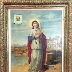 Arte: SANTA BÁRBARA DE LAS MINAS. ÓLEO SOBRE LIENZO. SIN FIRMA. ESPAÑA. SIGLO XX. Lote 84000588