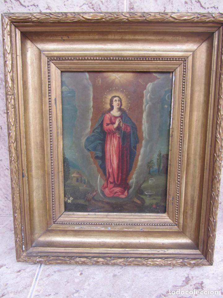 VIRGEN INMACULADA SIGLO XVII - OLEO SOBRE PLANCHA DE COBRE - (Arte - Arte Religioso - Pintura Religiosa - Oleo)
