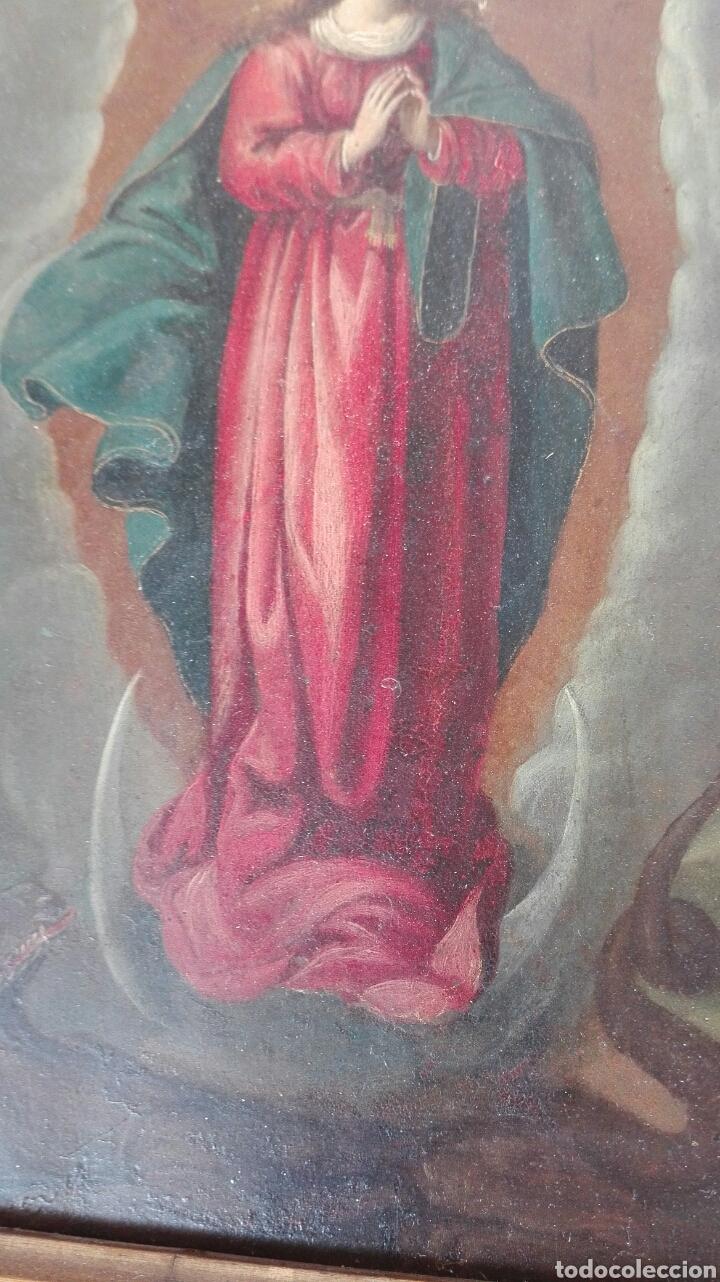 Arte: Virgen Inmaculada siglo XVII - Oleo Sobre Plancha de Cobre - - Foto 15 - 84957896