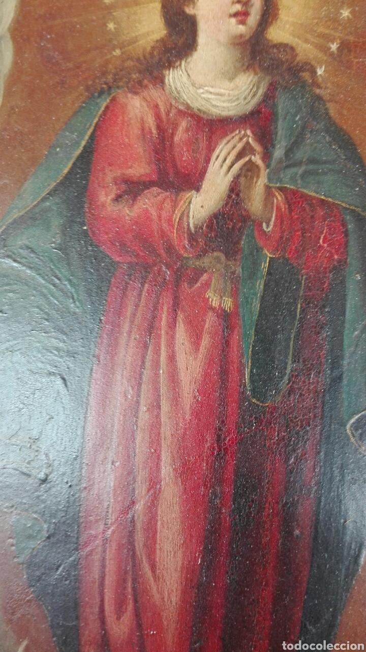 Arte: Virgen Inmaculada siglo XVII - Oleo Sobre Plancha de Cobre - - Foto 16 - 84957896