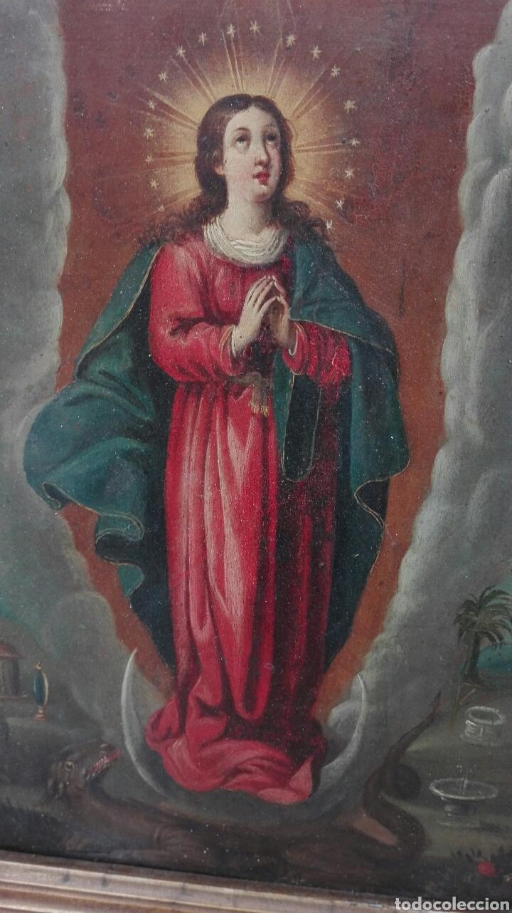 Arte: Virgen Inmaculada siglo XVII - Oleo Sobre Plancha de Cobre - - Foto 24 - 84957896