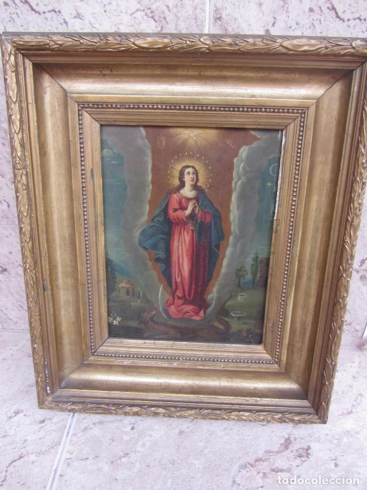 Arte: Virgen Inmaculada siglo XVII - Oleo Sobre Plancha de Cobre - - Foto 3 - 84957896
