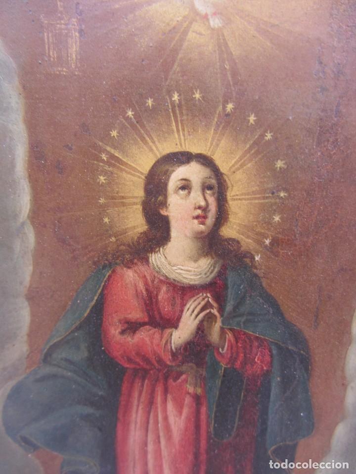 Arte: Virgen Inmaculada siglo XVII - Oleo Sobre Plancha de Cobre - - Foto 5 - 84957896