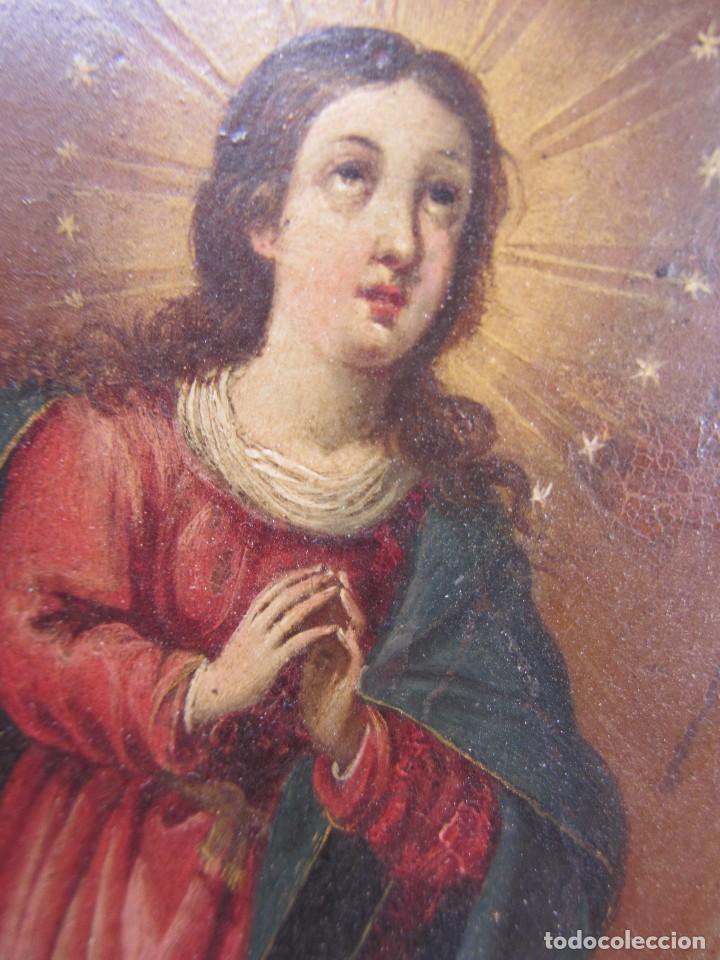Arte: Virgen Inmaculada siglo XVII - Oleo Sobre Plancha de Cobre - - Foto 7 - 84957896