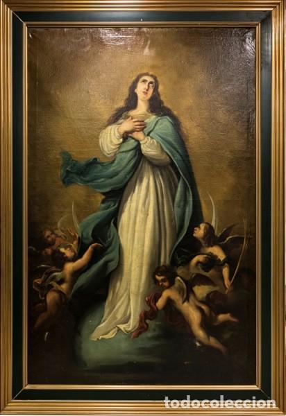 INMACULADA. GRANDES DIMENSIONES. LIENZO 193X125. SIGLO XIX. (Arte - Arte Religioso - Pintura Religiosa - Oleo)