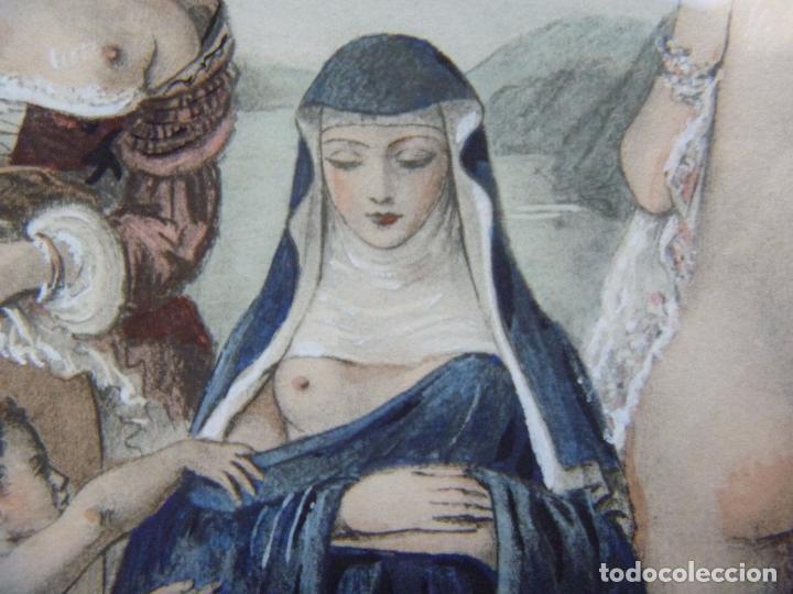 Arte: Grabado Erótico Monja Religión Becat Nun Nonne único Todocolección TENTATIONS EROTIC RELIGION ART - Foto 14 - 85233592