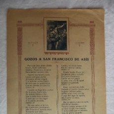 Arte: GOZOS A SAN FRANCISCO DE ASIS. Lote 85208848