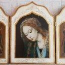 Arte: BELLO TRÍPTICO ANTIGUO CON LITIGRAFÍAS RELIGIOSAS EN MADERA CON ACABADOS EN ESTUCO Y ORO .. Lote 132801302