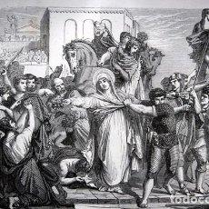 Arte: MUERTE DE DOROTEA - HEROINA CRISTIANA - GRABADO ORIGINAL DE 1856 - 240X155MM. Lote 85341832