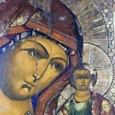 Arte: ICONO. VIRGEN MARIA CON EL NIÑO JESÚS. PINTURA SOBRE TABLA. RUSIA(?). XIX-XX. Lote 85413588