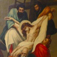 Arte: CUADRO PINTURA AL OLEO LIENZO SIGLO XVIII O XIX ARTE ANTIGUO RELIGIOSO SANTO DESCENDIMIENTO. Lote 85447604