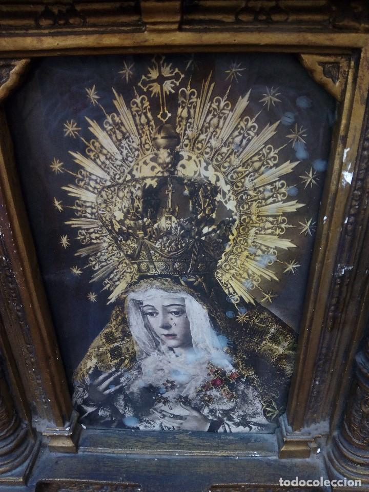 Arte: Retablo de virgen con forma de tejado de yeso y lucecitas - Foto 2 - 85452088