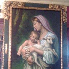 Arte: JOLOGA. VIRGEN CON NIÑO JESÚS Y CORDERITO. LIENZO 150X90. MARCO EXTRAORDINARIO.. Lote 85491252