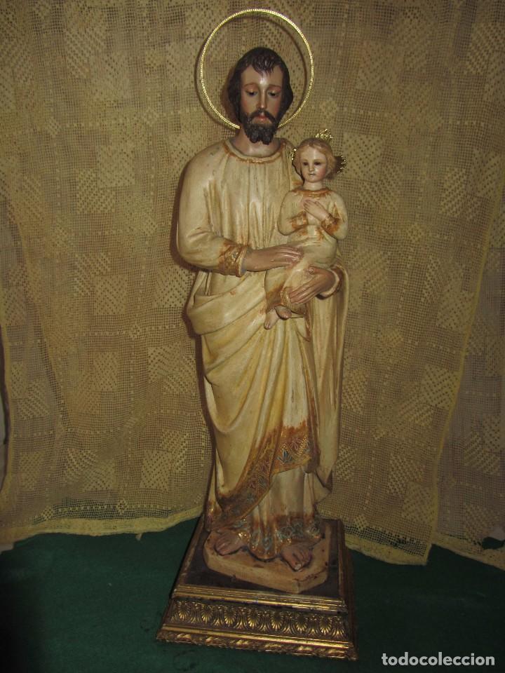 ESCULTURA SAN JOSÉ CON EL NIÑO - MADERA POLICROMADA XIX - (Arte - Arte Religioso - Escultura)