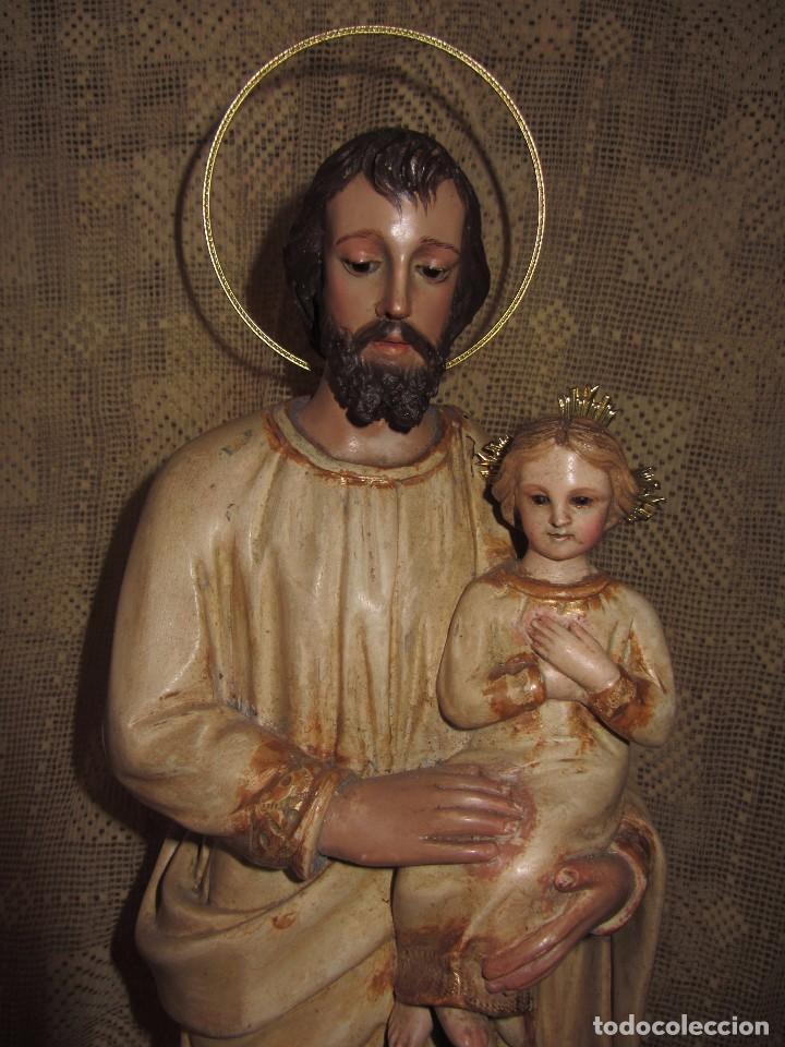 Arte: Escultura San José con el Niño - Madera Policromada XIX - - Foto 2 - 85652564