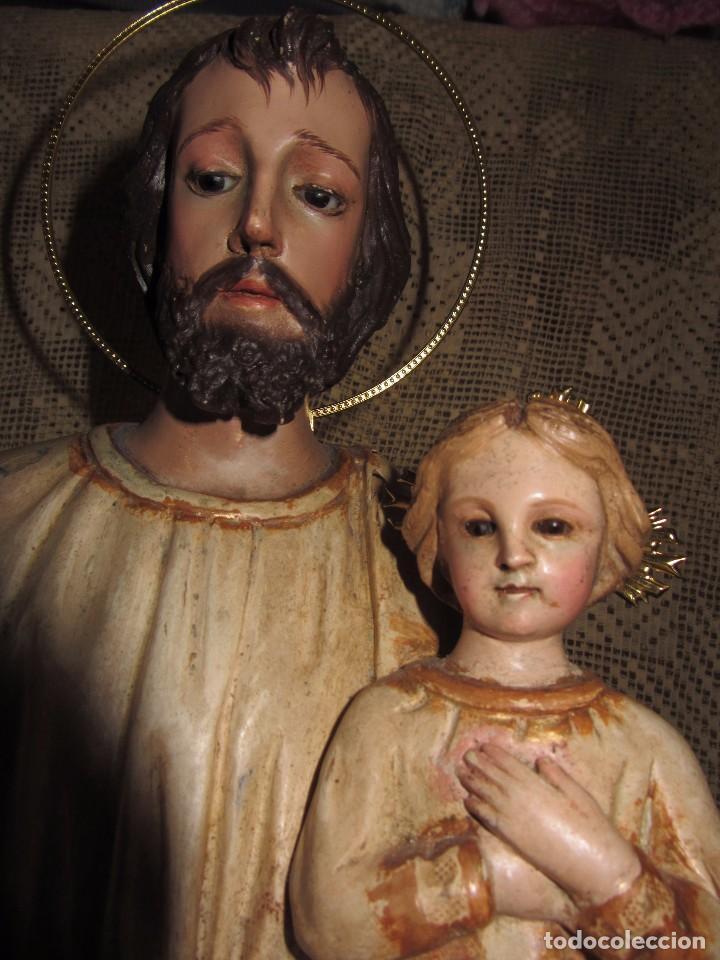 Arte: Escultura San José con el Niño - Madera Policromada XIX - - Foto 3 - 85652564