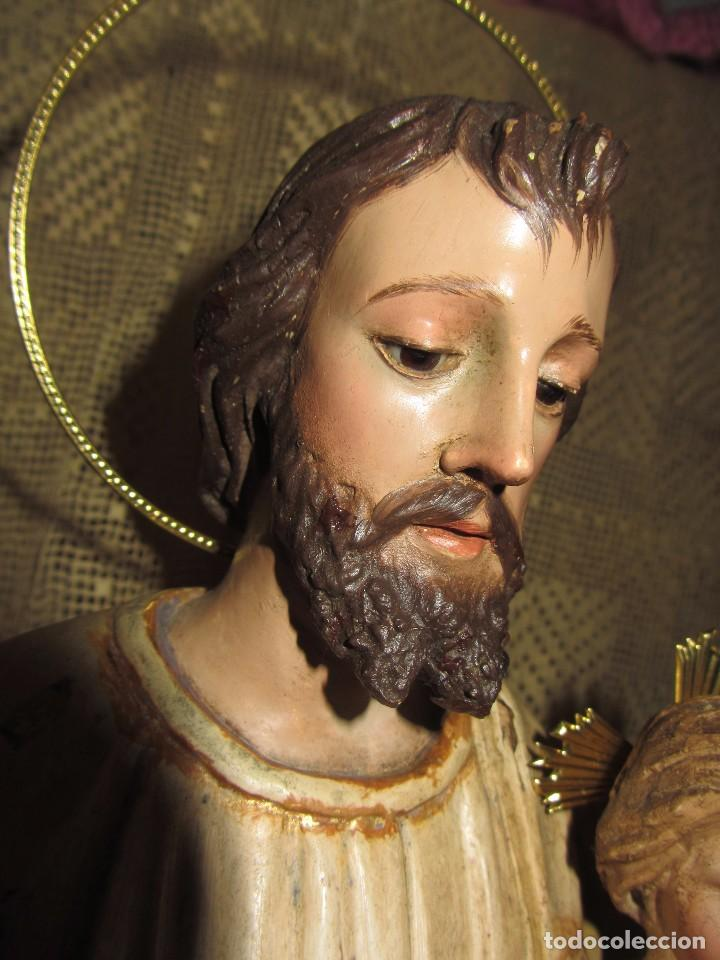 Arte: Escultura San José con el Niño - Madera Policromada XIX - - Foto 4 - 85652564