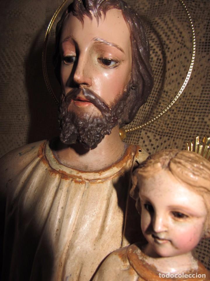 Arte: Escultura San José con el Niño - Madera Policromada XIX - - Foto 5 - 85652564