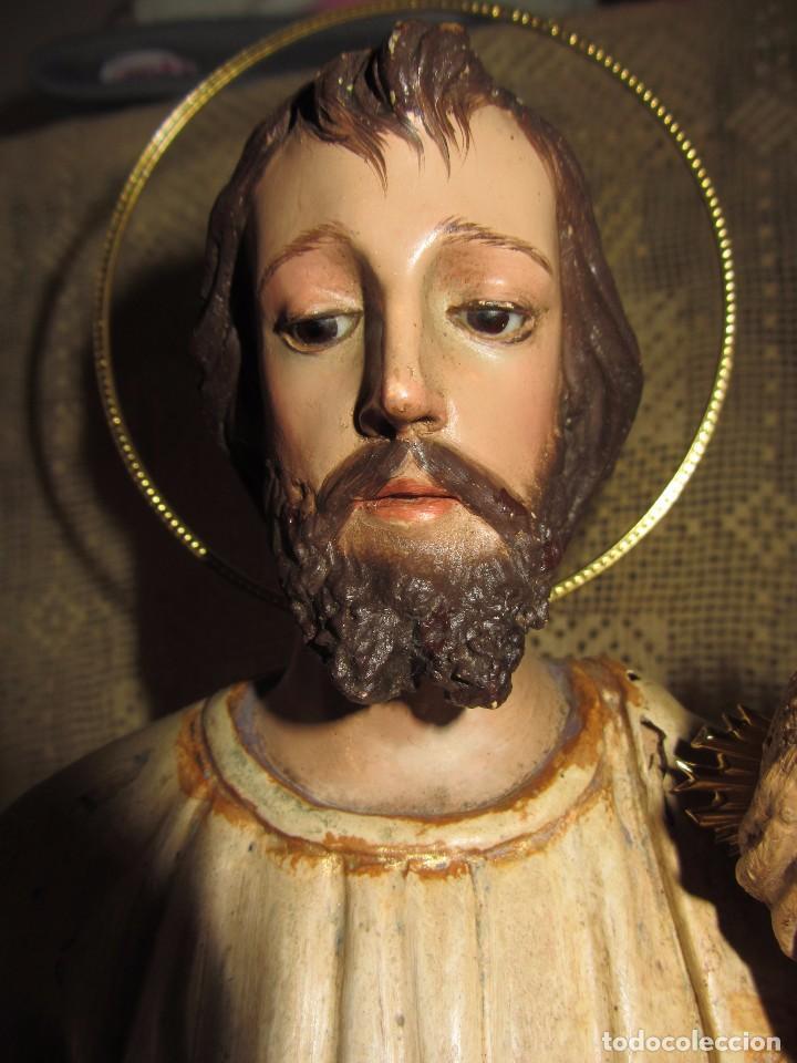 Arte: Escultura San José con el Niño - Madera Policromada XIX - - Foto 6 - 85652564