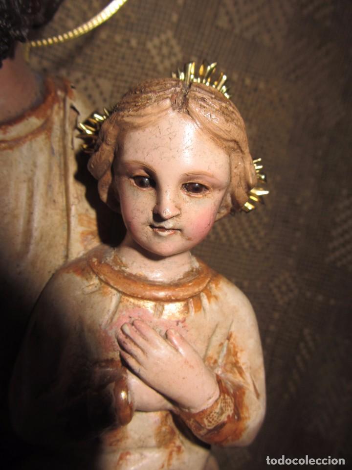 Arte: Escultura San José con el Niño - Madera Policromada XIX - - Foto 8 - 85652564