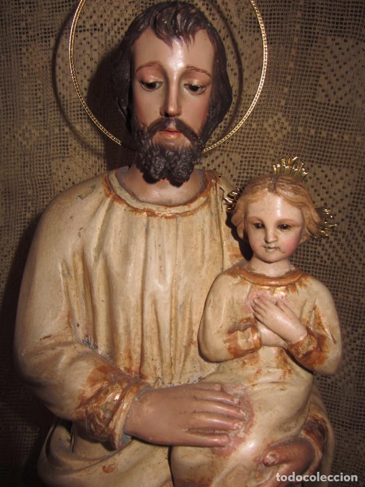 Arte: Escultura San José con el Niño - Madera Policromada XIX - - Foto 13 - 85652564