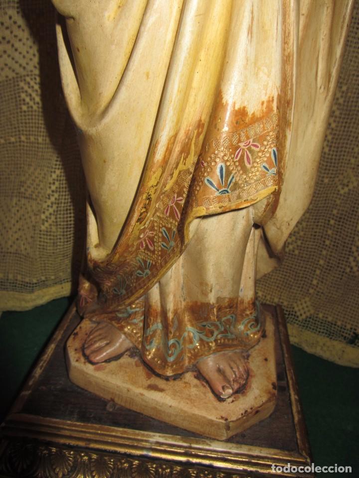 Arte: Escultura San José con el Niño - Madera Policromada XIX - - Foto 14 - 85652564